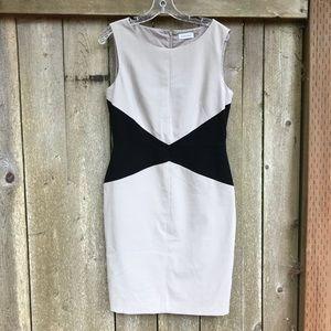 Calvin Klein Dress - Tan With Black Waist Size 10